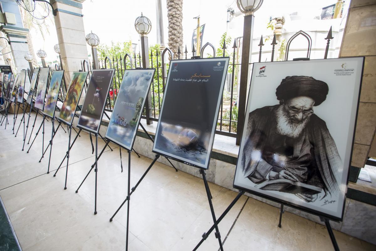 تصویر برپایی نمایشگاه هنری «پیروزی عراق بر سنی های تندروی داعش» در بین الحرمین