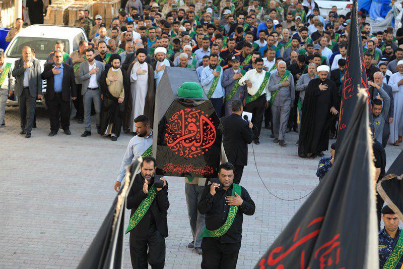 تصویر تشییع نمادین امام باقر علیه السلام در حرم امامین عسکریین