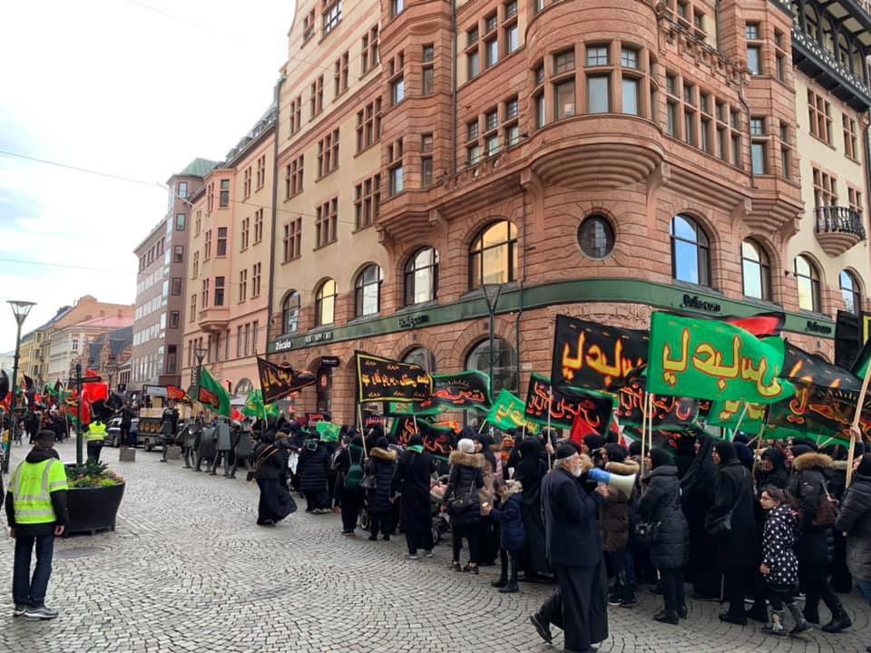 تصویر پیاده روی بزرگ شیعیان سوئد به مناسبت اربعین حسینی