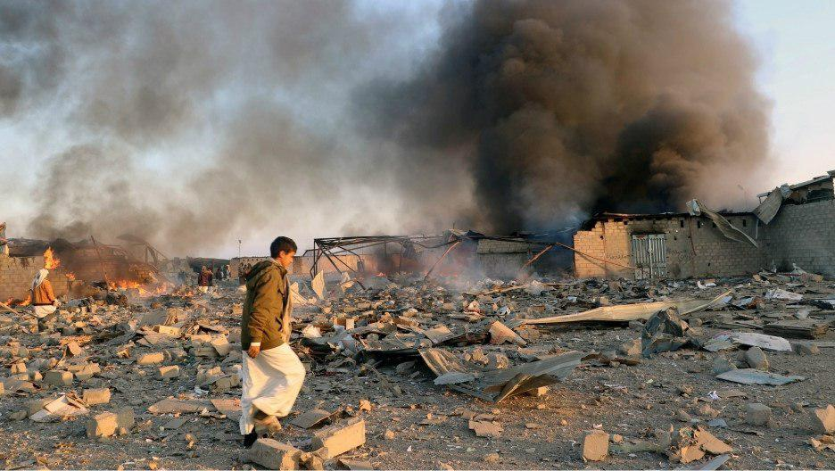 تصویر حملات شدید هوایی عربستان به شمال یمن