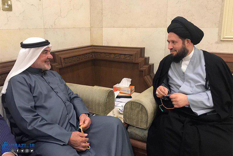 تصویر ملاقات آیت الله سید احمد شیرازی با نماینده پارلمان کشور کویت