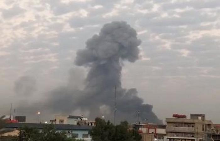 تصویر اصابت 4 موشک به منطقه مجاور فرودگاه بغداد