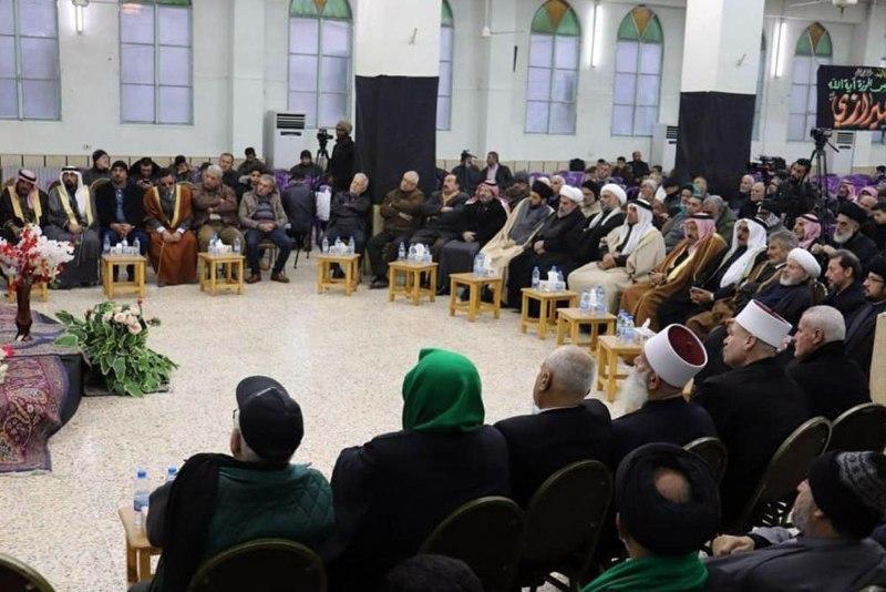 تصویر بزرگداشت شهید آیت الله شهید سید حسن شیرازی در حوزه علمیه شهر دمشق