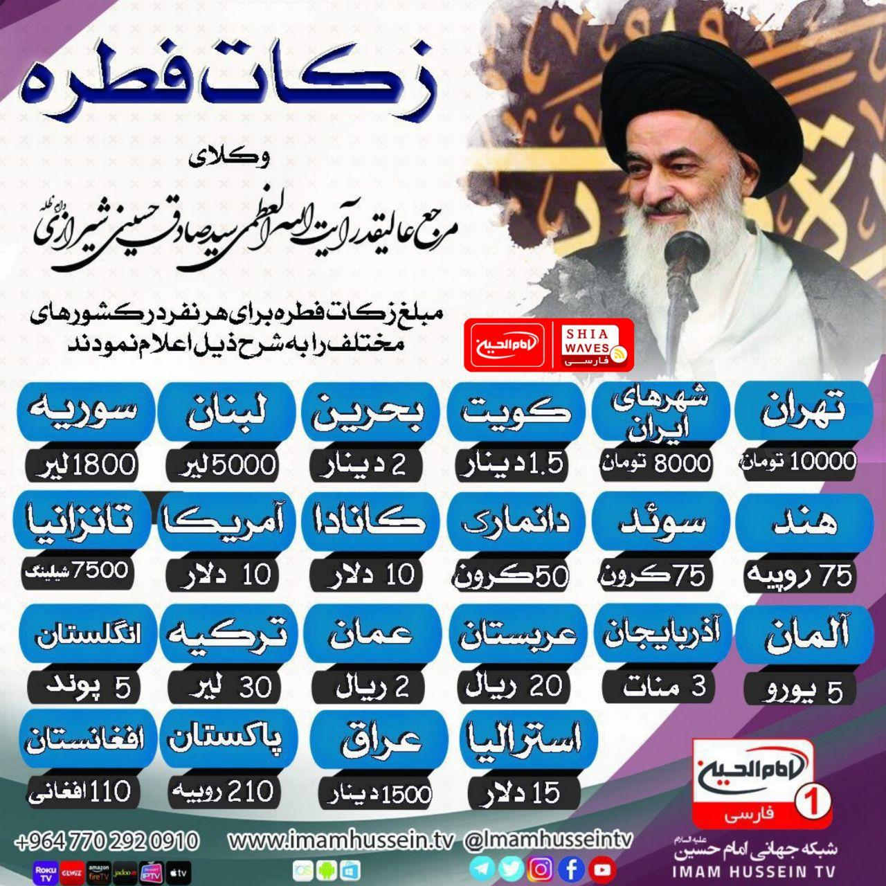 Photo of اعلام میزان زکات فطره، از سوی دفتر حضرت آیت الله العظمی شیرازی