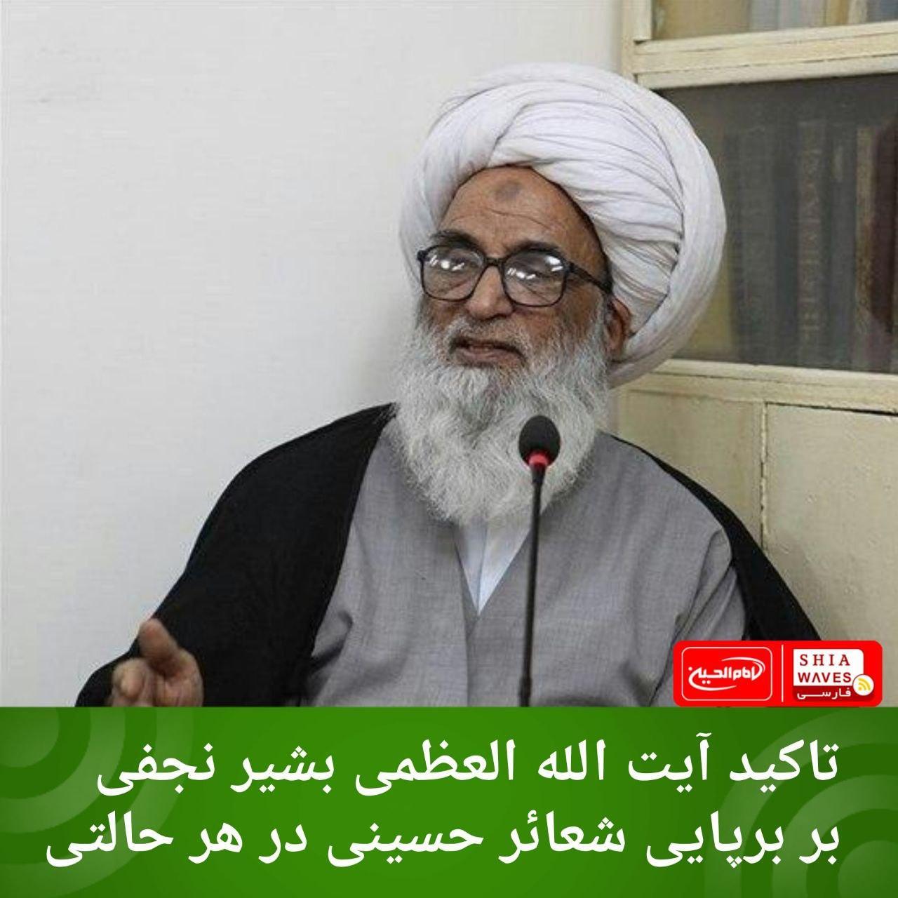 تصویر تاکید آیت الله العظمی بشیر نجفی بر برپایی شعائر حسینی در هر حالتی