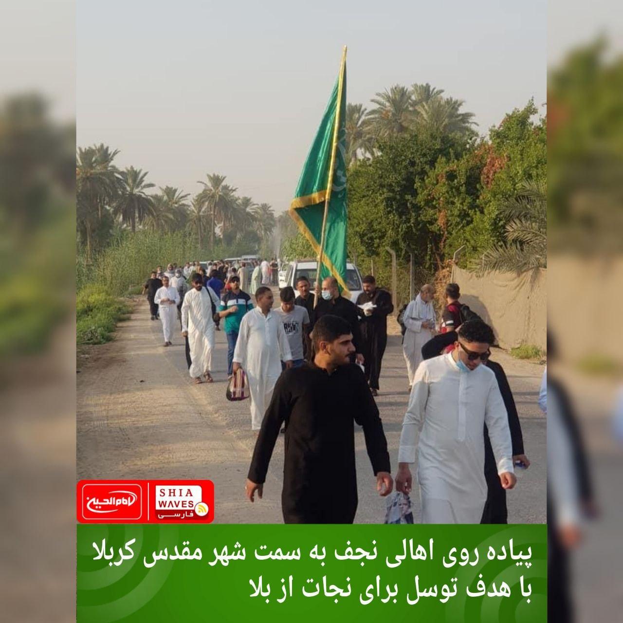 تصویر پیاده روی اهالی نجف به سمت شهر مقدس کربلا با هدف توسل برای نجات از بلا