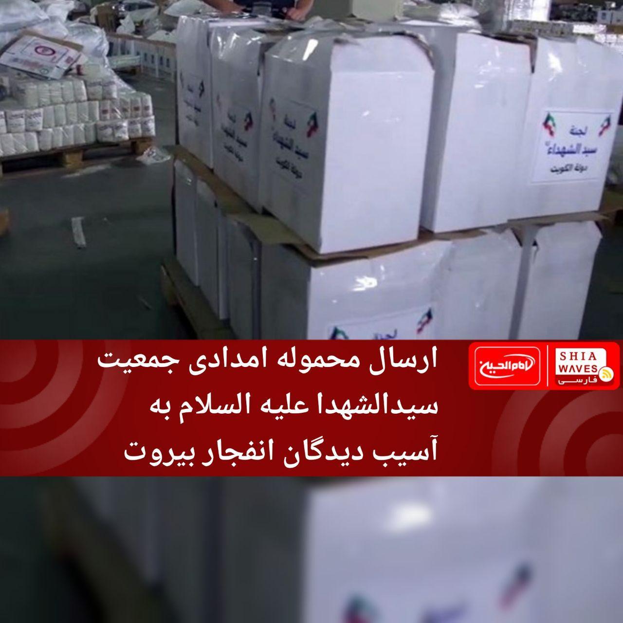 تصویر ارسال محموله امدادی جمعیت سیدالشهدا علیه السلام به آسیب دیدگان انفجار بیروت