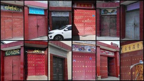 تصویر ممنوعیت نصب دعاهای عربی بر سردر خانههای مسلمانان در چین