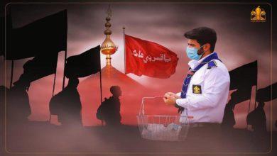 تصویر توزیع یک میلیون ماسک بین زائران اربعین حسینی