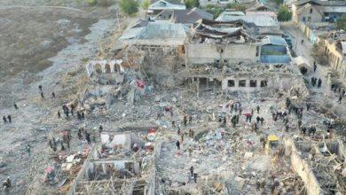 تصویر حمله مرگبار ارتش ارمنستان به گنجه آذربایجان