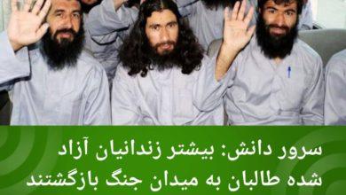 تصویر سرور دانش: بیشتر زندانیان آزاد شده طالبان به میدان جنگ بازگشتند