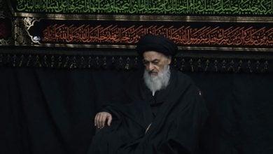 تصویر عزاداری فاطمی شیعیان در حضور حضرت آیت الله العظمی شیرازی