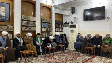 تصویر استقبال دفتر مرجعیت در کربلا از هیئت نمایندگی مؤسسه امام حسین علیه السلام