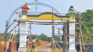 تصویر ساخت دروازه ورودی مشترک مسجد و معبد در هند