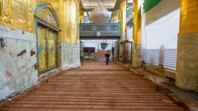 تصویر ادامه روکش کف و دیوار ایوان طلایی حرم حضرت عباس