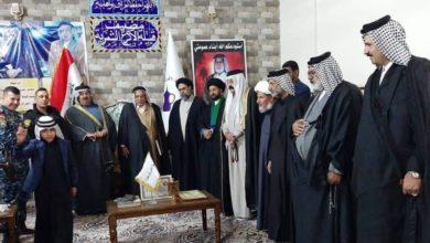 تصویر دیدار هیئت نمایندگی دفتر نجف با جمعی از شخصیت های عشایری و امنیتی بغداد