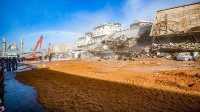 تصویر آغاز کار توسعه باب القبله در نزدیکی آستان مقدس عباسی