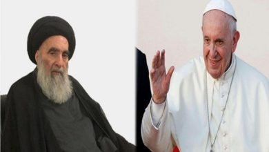 تصویر پاپ ۱۶ اسفند با آیت الله العظمی سیستانی دیدار می کند