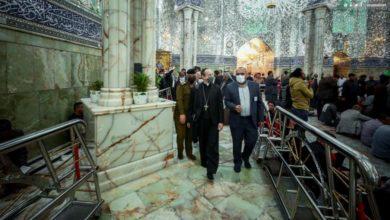 تصویر حضور فرستاده ویژه پاپ در آستان مقدس علوی