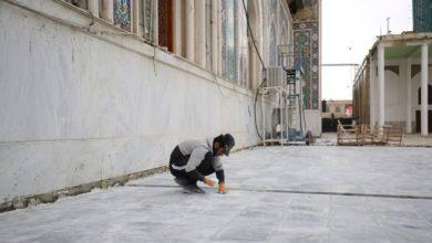تصویر پایان طرح سنگفرش کردن صحن سیده نرجس علیها سلام در آستان مقدس عسکریین
