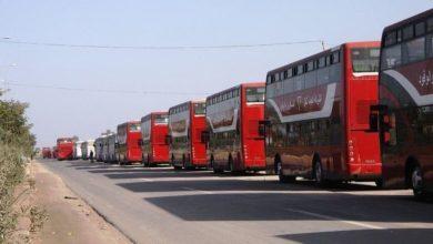 تصویر آماده سازی ناوگان اتوبوس رانی عراق برای برگزاری مراسم نیمه شعبان