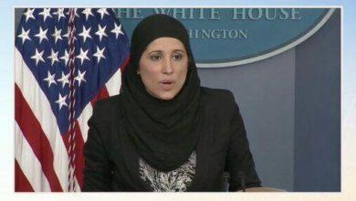 تصویر نخستین کنفرانس خبری زن مسلمان از کاخ سفید