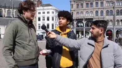 تصویر شیوه متفاوت جوان یمنی در تبلیغ اسلام در خیابان های آمستردام