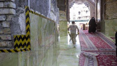 تصویر پایان سنگفرش ورودی امام حسن علیه السلام در آستان مقدس عباسی
