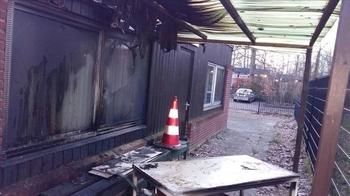 تصویر آتش زدن مسجدی در هلند توسط یک فرد افراطی
