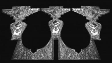 تصویر نصب قطعات فلزی برای ضریح حرم حضرت زینب سلام الله علیها
