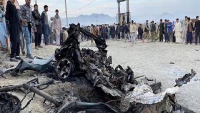 تصویر انفجار یک اتوبوس در جنوب افغانستان