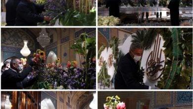 تصویر نیم ملیون شاخه گل به حرم منور رضوی اهدا شد