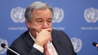 تصویر دعوت دبیرکل سازمان ملل به خویشتنداری بعد از حمله جنگنده های آمریکا به عراق و سوریه