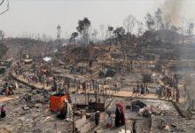 تصویر آتش سوزی در اردوگاه مسلمانان روهینگیا در بنگلادش
