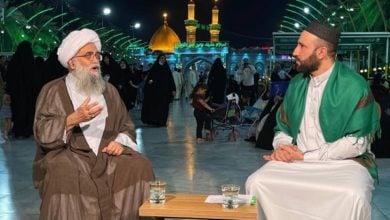 تصویر حضور آیت الله غدیری در برنامه زنده شبکه امام حسین علیه السلام