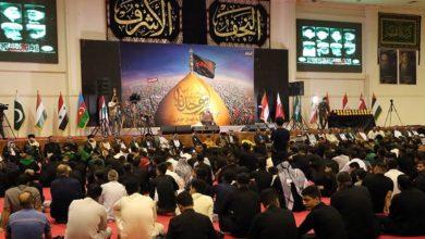 تصویر برگزاری مراسم استقبال از ماه محرم توسط هیئت عزای مرکزی عراق در شهر مقدس نجف