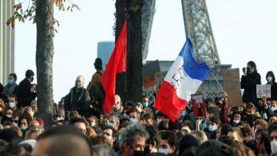 تصویر تظاهرات فرانسوی ها در دفاع از مسلمان چین