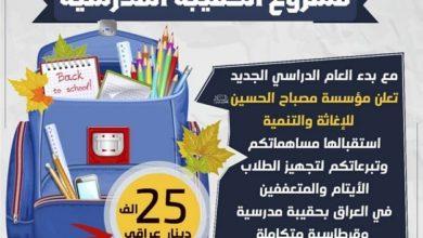 تصویر اجرای طرح اهدای کیف مدرسه و لوازم التحریر به دانش آموزان نیازمند عراقی